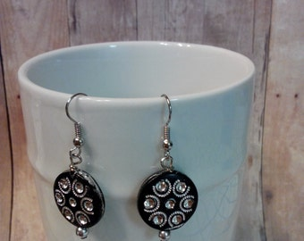 Black and silvertone bling dangle earrings