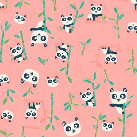 Cute panda fabric baby girl fabric pink pandas animal for Cute baby fabric prints