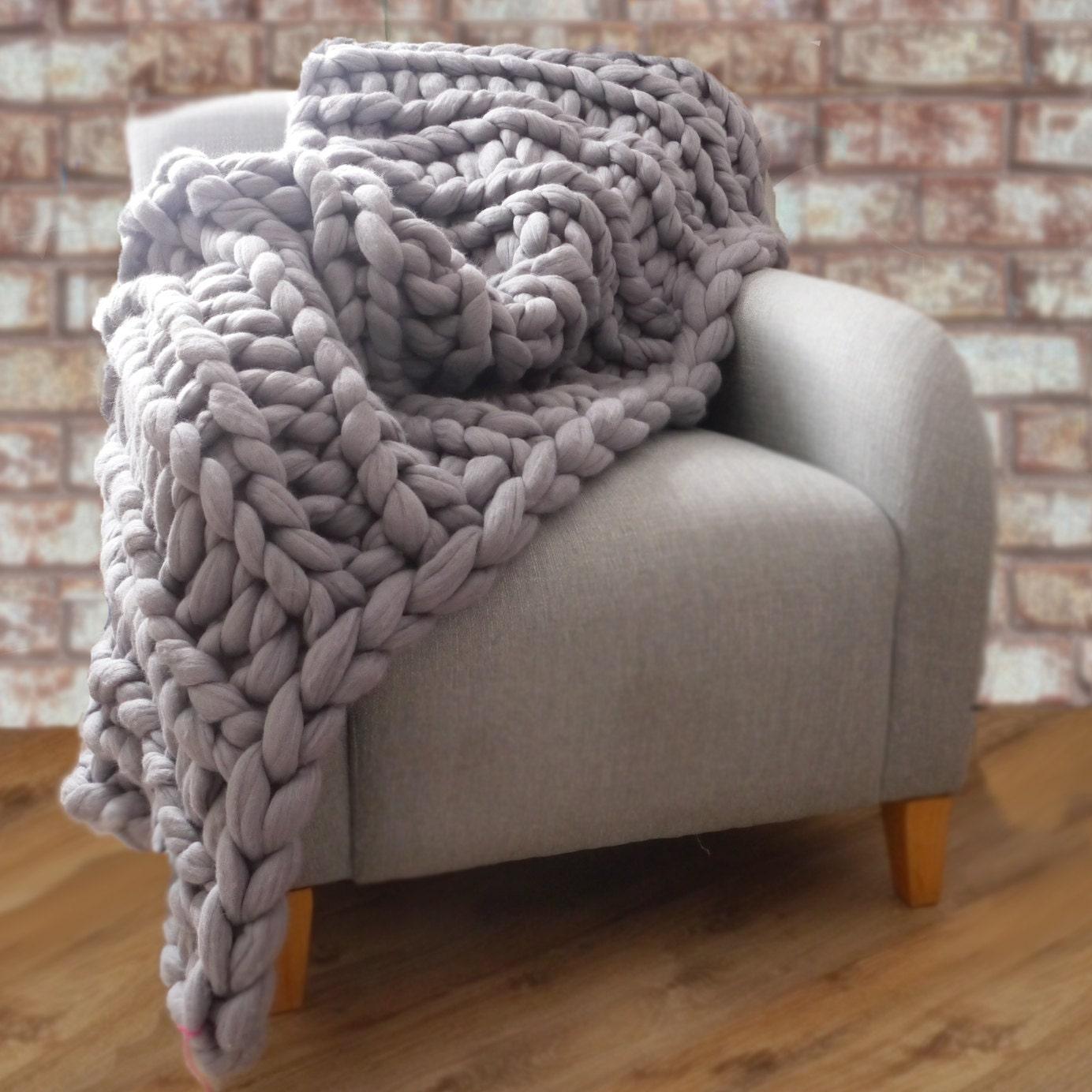 Grey Chunky Knit Blanket Giant Knit Blanket By