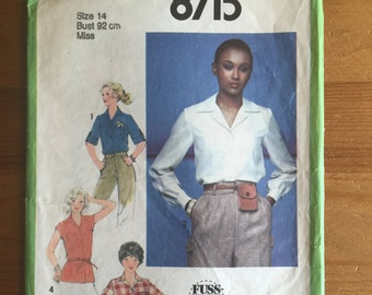 "1978 Vintage Simplicity Pattern 8715 - Blouse and Tie Belt - size 14 (Bust 92cm 36"")"