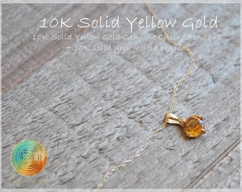 CITRINE Pendant,10K Solid Yellow Gold Pendant and Chain,Gemstone Pendant,10K gold Chain,Woman Jewelry,Gold Chain,Gift for her,Genuine Gems