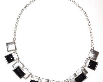 Resin Square Peg Sterling Silver Plated Necklace, lead free pewter,pewter jewelry