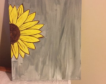 "18""x14"" wrapped canvas Sunflower painting"