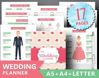 "Wedding Planner Printable: ""WEDDING BOOK"" Letter A4 A5 Ultimate Printable Wedding Planning Kit Wedding Binder Bridal Organizer Printable"