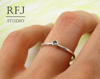 Lab Tourmaline Silver Ring, Light Green CZ 2 mm Sterling Ring Simulate Light Green Tourmaline Gemstone Birthstone Ring 925 Silver Green Ring