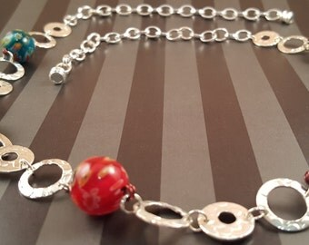 Silver Disk Link Necklace with Glass Beads