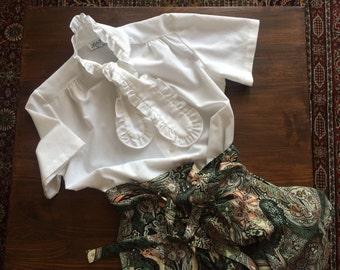 White tuxedo ruffle blouse