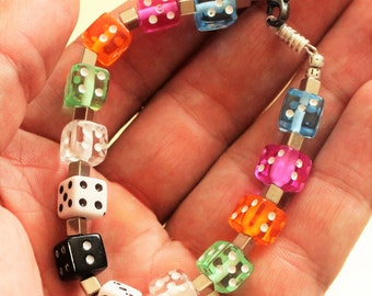 Coloured dice bracelet, Jewellery designs, Lucky dices, Dice bracelet, Lucky jewellery, Colourful Jewellery,