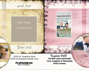 2 sets of DVD/CD Templates PSD, dvd/cd Labels and dvd/cd double cases