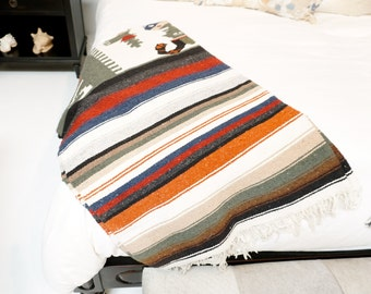 Tri-Colored Indonesian Throw Blanket Cover Stitched Multi-Colored