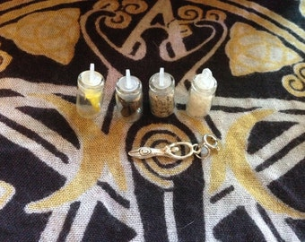 Elemental glass vials and Goddess Charm