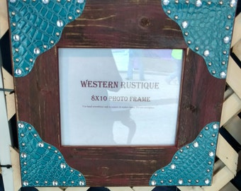 Rustic Red 8x10 Frame, Turquoise Croc with Bling!