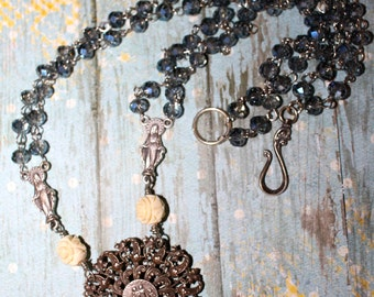 The Saint Marie, necklace, vintage assemblage, rosary, antique, vintage celluloid, the Netherlands.