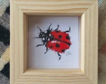 Small framed ladybird illustration // ladybird print // ladybug print // ladybird illustration // ladybird painting // ladybug painting