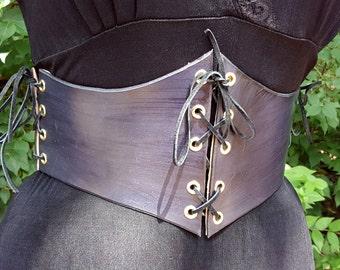 Black Leather Waist Cincher - Leather Underbust Corset Belt - Renaissance Costume Medieval Costume