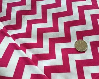 Fuschia Pink Chevron 100% Cotton Fabric