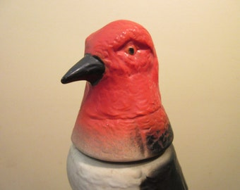 Red headed woodpecker, Vintage Jim Beam decanter