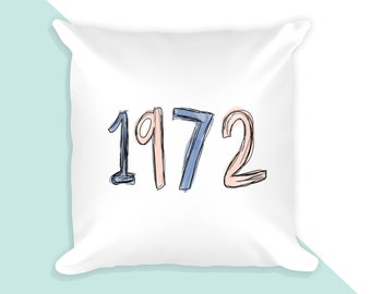 70s style 1972  - 18x18 throw pillow cover with insert