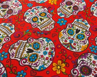 Sugar Skull Fabric Mexican Fabric Day of the Dead Fabric Quilting Fabric Cotton Fabric Dress Fabric Skirt Fabric