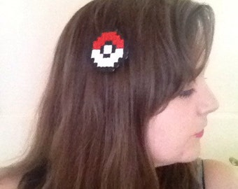 Pokeball hama bead hair clip