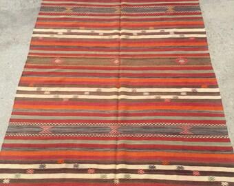 267x157 cm 8.7x5.1 feet Ethnic Kilim Rug Boho Kilim Rug Anatolian Kilim Turkish Kilim Floor Kilim Turkish Antique Kilim Rug Handmade