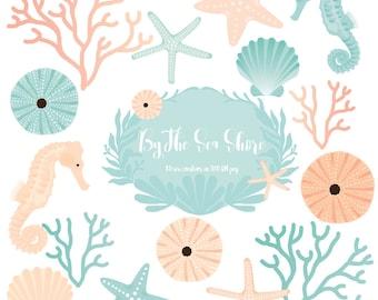 Ocean Life Clipart, seahorse, sea urchin, starfish, Coral