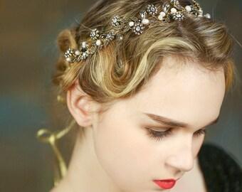 Handmade Vintage Style Pearl Floral Bridal Headband Vintage Tiara