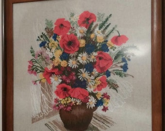 "Handcrafted needlepoint picture ""Poppies"""