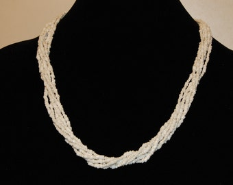 Vintage, white, multistrand seed bead necklace