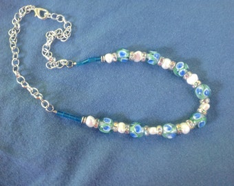 Blue and green lamp work bead necklace