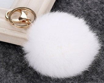 8 cm White Fur Pom Pom Key Chain