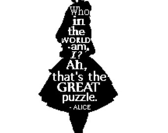 Alice in Wonderland Silhouette Cross Stitch with quote - PDF Instant Download