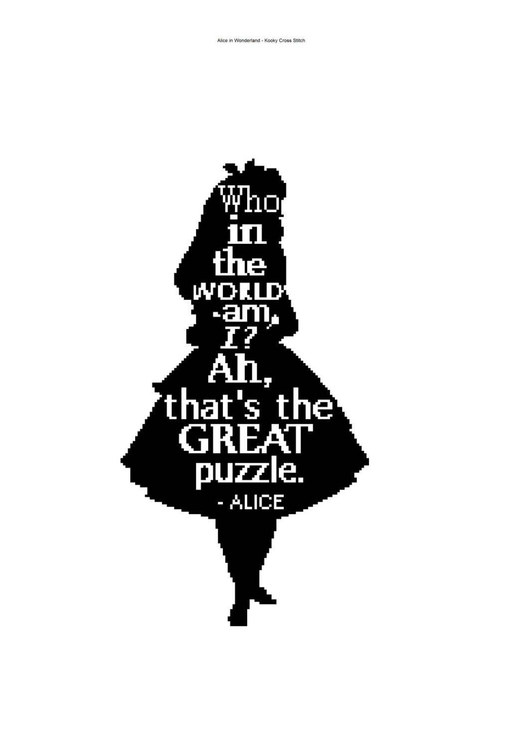 Alice In Wonderland Silhouette Cross Stitch With Quote Pdf