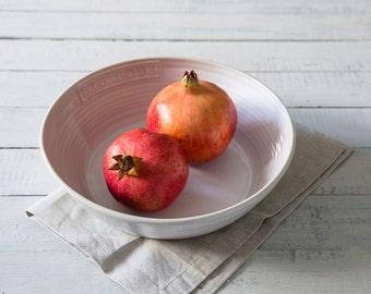 Big bowl, ceramic serving bowl, white bowl, pasta bowl, salad bowl, bowl, housewarming gift, kitchen and dining, cookware, tableware