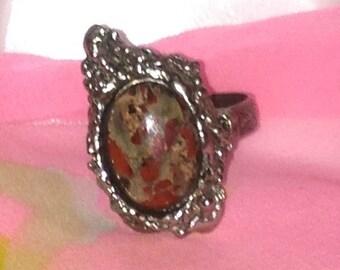 Silver Tone Tan Stone Ring