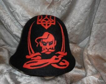 Sauna Felted Wool Felted Hat Cossack Black Red Blazon Handmade Bath Cap Ukrainian Revolution Original Gift for Him Sauna Spa Black Felt OOAK
