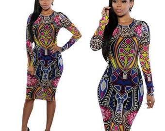 SHEER Bohemian Print Bodycon Dress