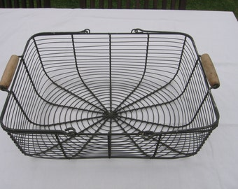 Large Vintage French Rectangular Wire / Fil de Fer / Gathering / Storage Basket Shabby Chic French Country Décor Panier