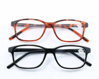 Amber N Black Readers Faceted Reading Glasses  -  choose color & strength FAST SHIP CA