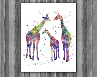 Giraffe Family, Giraffe Family Print, Giraffe art, Giraffe print, animal art, animal decor, Giraffe wall art, watercolor, Giraffe poster