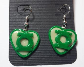 Green Lantern Glow in the Dark Heart Earrings