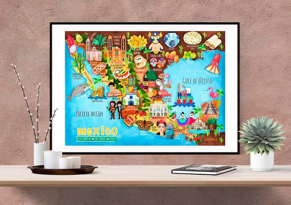 Mexico Map Illustration (UK shipping inclusive) ((15% this January/February, use code JAN17SALE15)