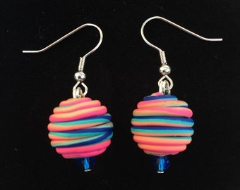 Colorful clay bead earrings