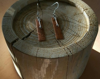 Rectangle Silver and Copper Arrow Earrings