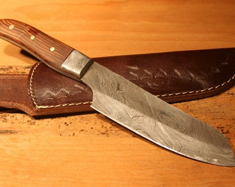 Beautiful Chef Knife Damascus and cocobolo