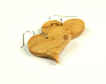 Heart Earrings in olive wood