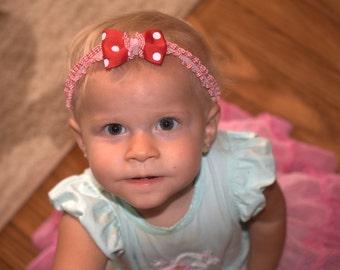headband red and white polka dot