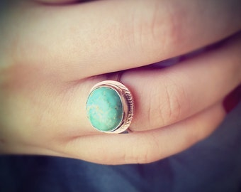 Turquoise Ring in Copper amd Sterling Silver