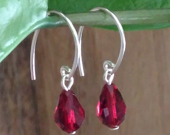 Ruby Swarovski Crystal Earrings, Sterling Silver