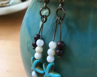Handmade, Boho, Beach, Bronze, White, Glass Beads, Turquoise Starfish, Charm, Dangle, Drop, Earrings